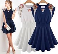 Summer Fashion Women's Printed Dresses Round Neck Sleeveless Slim Dress Women Free shipping S M L XL 850235