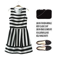 Free shipping women dress summer 2014 Korean version of the retro fashion style black and white striped dress Slim waist L230