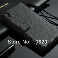Genuine Leather Cross Grain Flip Case For Sony Z2 Cover Phone Shell