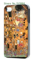 2014 hot!wholesale 1pc Kiss by Gustav Klimt black case hard back cover for iPhone 4 4S 4G+free shipping