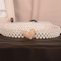 2014 New Arrival All-match Ceinture Women's Pearl Heart Belly Chain Ladies Belts Cummerbunds For Brief Clothes Accessories