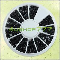 2SETS/LOT Nail Tool EQ8860 Black Mixed Shape Bling Glitter Nail Art Tips Rhinestones Gems Decoration Wheel