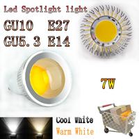 10pcs/lot AC85-265V 7W 9W GU10/E27/E14/GU5.3/MR16 Spotlight Bulb Lamp Warm/Cold White CE/RoHS Silver Shell COB LED Spotlight