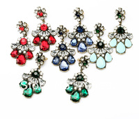 2014 New Fashion Luxury Statement Colorful Crystal Flower Earrings Jewelry For Women Free Shipping
