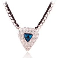 Free shipping $20 for 2015 sweater chain necklace women over exaggerated double color crystal quality chain pendant chain shield