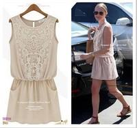 2014 Summer New Za Brand Casual Ladies Lace Chiffon Dress Vintage Embroidery Brief Women Vestidos High Street Slim Dress