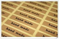 "Wholesale,(1 Lot =750 Pcs) 5*1 CM DIY Scrapbooking Kraft Paper 'Hand Made"" Labels Envelopes Stickers handmade Seals Sticker"