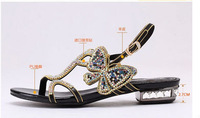 Spectra child 2014 new leather flat sandals with rhinestones sweet crude butterfly flower flat sandals big yards