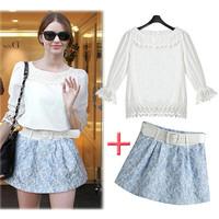 3PC SHIRT+SKIRT+Belt CLOTHING SET New 2014 summer female fashion women's floral print short skirt t-shirt set suit Free Shipping