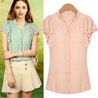 New 2014 Women Summer Fashion Sleeve Ruffle Punching Blouse Chiffon Lace Shirt Cardigan Female Basic Casual Blouses & Shirts