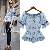 New 2014 spring summer denim outerwear fashion women's female denim shirt blouse single breasted denim outerwear