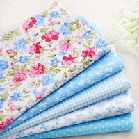5pcs 40*50cm baby blue rose cotton patchwork fabric quilting home textile cloth for sewing DIY