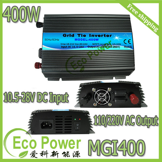 Free shipping CE approved 400w mppt solar power grid tie micro inverter pure sine wave 10.5-28V DC input,120V /230VAC output(China (Mainland))