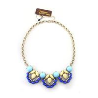 fashion accessories blue yellow sparkling diamond short design vintage necklace