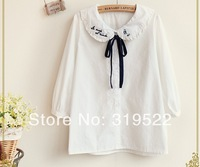 Preppy style bow collar bowknot tie white cotton three quarter sleeve mori girl blouse shirt