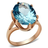 2014 New Fashion Ionic Rose Gold Plated Solitaire Oval Spinel Blue Cubic Zirconia Women Ring Lead Free and Low Cadmium