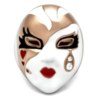 New Design Chinese Opera Face Women Fashion Rings Rose Gold Plated Multi Colors Epoxy Clear White Crystals Lead and Cadmium Free