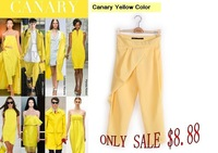 Sally she P-89 lady color pants capris cross pants chiffion causal style yellow and green color simple fashion pants