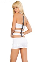 Sexy Lingerie White Halter Zipper Back Dress Set Sleepwear Costume Underwear  Uniform ,Kimono