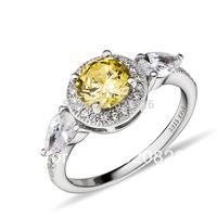 GNJ0548 2014 NEW! Fashion 925 sterling silver yellow zircon Ring shiny star Free shipping  CZ Wedding rings for women
