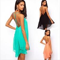 Free Shipping! New 2014 Spring Summer Dress Women sexy cross sleeveless vestidos long chiffon dress FOR WOMEN  FT710
