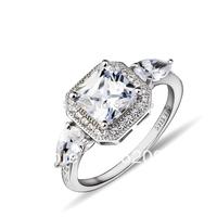 GNJ0546 Wholesale Fashion jewelry 925 sterling silver ring  shiny zircon angel' wings for women beauty wedding ring freeshipping