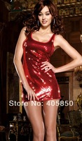 Sexy Lingerie Red Shiny Clubwear Min Dress Set Sleepwear Costume Underwear  Uniform ,Kimono