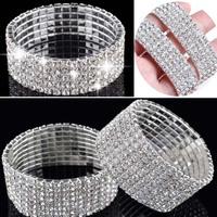 New Faashion 5/8 Rows Crystal Rhinestone Wedding Bridal Bracelet Bangle Bling Wristband Band Cuff