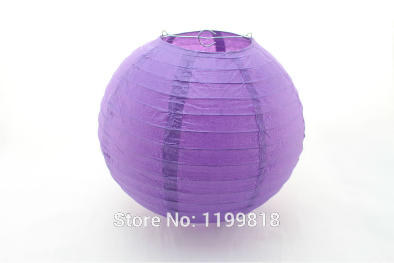 Free Shipping 50pcs 12Inch Round Purple Chinese Festival Paper Lantern(China (Mainland))