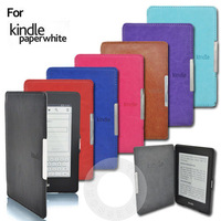 Luxury Crazy Horse Leather Magnetic Case for Amazon Kindle Paperwhite with Sleep and Wake Up Function 100Pcs/Lot Fedex Free