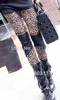 Hip Hop Punk Black Sexy Streewear Leopard Pants Faux Leather Leggings Fashion 2014 Zipper Leggigs Ladies Stretch Pant S99-180