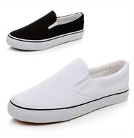 Free shipping girl's boy canvas shoes nurse's shoes women men lazy shoes  white balck color 35-43size