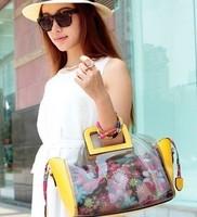 Female bags flower plastic 2014 women's handbag food basket portable jelly crystal beach bag transparent bag