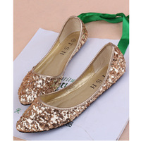 2015 new pointed toe paillette comfortable soft low heel outsole shinny glitter women wedding summer flat ballet shoes