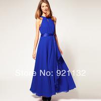 Free Shipping 2014 Women's New Fashion High Quality Hot Sale Elegant Irregular Lap Sleeveless Vintage Long Maxi Party Dress S-XL