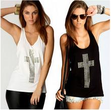 2014 NEW Free Shipping Sexy Fashion Rhinestones Cross Hot Drill Racerback Low o-neck Slim Tanks Womens Vest t-shirts