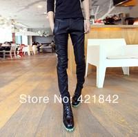 Hot 2014 Streetwear Pu Leather Mens Pants Full Length Hi-fashion Casual Men and Women Pants Black, Free Shipping