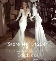 Elegant V Neck Trumpet Mermaid Chiffon Wedding Dresses Lace Long Sleeve Backless Bridal Gown yk8R914