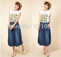 2014 NEW Spring Autumn Korean Charming Women's Skirts Denim Skirts Size XL Loose Casual Women Long Fashion Skirt Frree Shipping