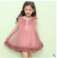Summer  pink sleeveless performance  princess girl dance dress