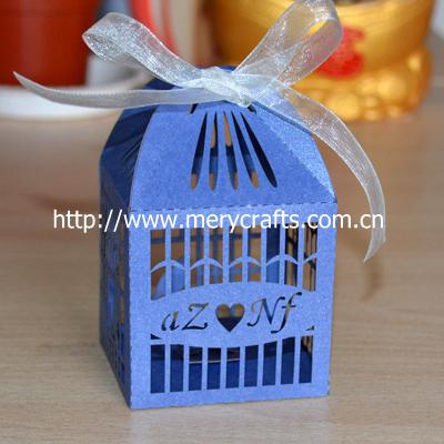 """300 peças/lote 250 g pérola presentes de casamento de papel """" gaiola de pássaro """" peças centrais do casamento Box com Free Organza fitas de Mery artesanato(China (Mainland))"""