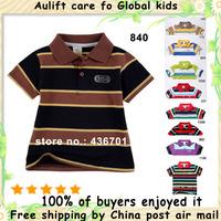 ALF840 2pcs/lot 9 colors 6 sizes boys horizontal stripe T-shirts  children's t shirts 100%  cotton Free shipping