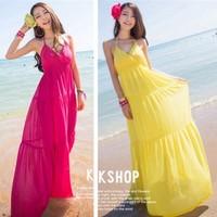 2014 new hot beach dress was thin strap fashion dress women's casual Summer Bohemian Dress M L 5 color