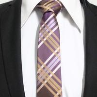 Mens Fashion Purple With Gold Lilac Slim Check Ties For Man Classic Casual Neckties Gravata 5CM F5-C-23