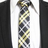 Mens Style Black With Yellow Narrow Check Ties For Man Poplar Hot Neckties Gravata 5CM F5-C-24