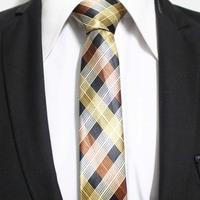 Mens Fashion Classic Check Gold Black Yellow Orange Neck Ties For Man Poplar Party Neckties Gravata 5CM F5-C-25