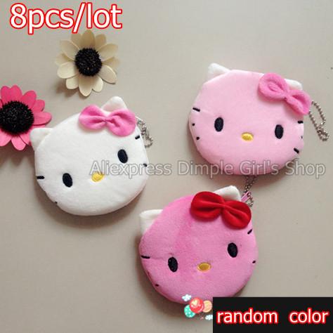 8pcs With Zipper Plush Cat Kawaii Hello Kitty Bag Change Purse Coin Pouch Money Holder candy-colored Mini Children Cartoon bolsa(China (Mainland))