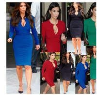 2014 New Fashion Europe and America  style Spring sexy V-neck long-sleeved dress Bandage Dress package hip dress  Free shipping