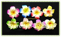 free shipping 100pcs Large 4.5CM mixed colors Fabulous Hawaiian foam frangipani flowers wedding party decor