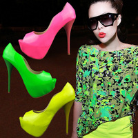 2014 women's shoes japanned leather open toe sandals low neon color sexy high-heeled shoes 35 - 41